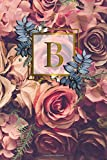 B: Nifty Initial Monogram Letter B Dot Grid Bullet Notebook. Cute Personalized Name Journal Diary for Writing & Notes for Girls and Women with Dot Grid Pages- Gold Red Roses Floral Print
