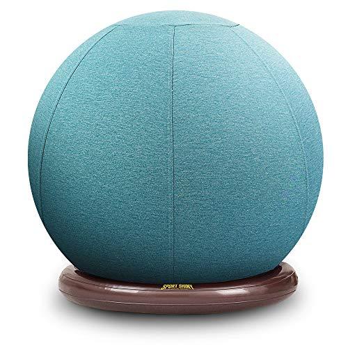 Sillón de balón deportivo brillante, pelota de yoga de estabilidad con funda lavable a máquina, base de anillo, silla ergonómica, tamaño 55 cm, bomba de aire rápida incluida...