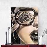 Gafas de sol modernas Moda Mujer Pintura en lienzo Arte de la pared Imágenes para la sala de estar Decoración del hogar Carteles e impresiones de figuras modernas 40X60CM Sin marco