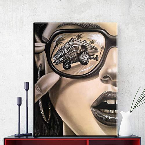 N / A Modernas gafas de sol de moda mujer lienzo pintura arte pared cuadros para sala de estar decoración del hogar moderna figura carteles e impresiones 30 x 45 cm sin marco