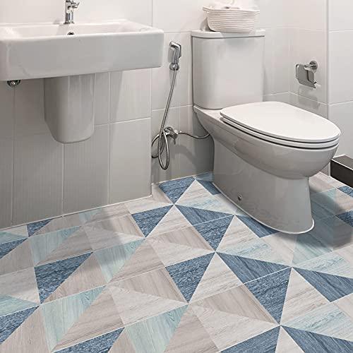 ENCOFT Adesivi per Piastrelle Pavimento in PVC Impermeabile, Piastrelle per Pavimenti Autoadesivi, Rotolo Piastrelle Adesive Pavimento Bagno Cucina Camera da Letto Triangolare Multicolore 20x300cm