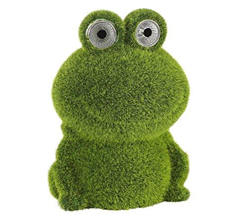 Dehner Dekofigur Solarleuchte Frosch beflockt, ca. 17 x 10 x 12 cm, Kunststoff/Polyresin, grün