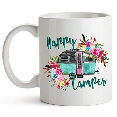 YouNique Designs Happy Camper Coffee Mug, 11 Ounces, Vintage Camper Cup, RV Camping Mug