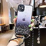 Hadwii Funda para iPhone XS Max para iPhone XS Max, funda transparente con cordón, funda para el cuello, protección para la cámara con correa, funda protectora de silicona brillante para iPhone XS Max