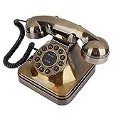 Exliy Teléfono de Bronce Antiguo, teléfono Fijo Retro Europeo clásico, teléfono con Cable con reducción de Ruido, tamaño pequeño, para el hogar y decoración, teléfono Vintage