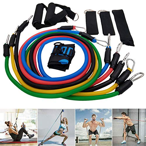 LiHong Latex Resistance Bands Set 11Pcs Exercise Elastic Band Set Portable Include 5 Stackable Exercise Bands with Handles Carry Bag Legs Ankle Straps Door Anchor Attachment