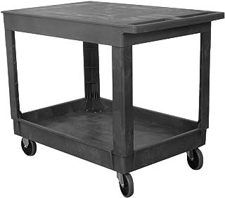 "Wesco Industrial Products 270493 Plastic Flat-Top Standard Service Cart, 2 Trays, 500-lb. Load Capacity, 40.25"" L x 25.5"" W x 32.5 H"