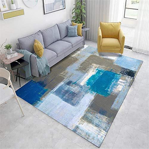 Xiaosua alfombras Infantiles Juegos Azul Sala de Estar Alfombra Azul Doodle Vintage patrón Antiguo con Rumores antipercios alfombras Comedor Estilo 200x300cm Alfombra Juegos Bebe 6ft 6.7''X9ft 10.1''
