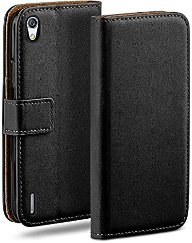 moex Klapphülle für Huawei Ascend P7 Hülle klappbar, Handyhülle mit Kartenfach, 360 Grad Schutzhülle zum klappen, Flip Hülle Book Cover, Vegan Leder Handytasche, Schwarz