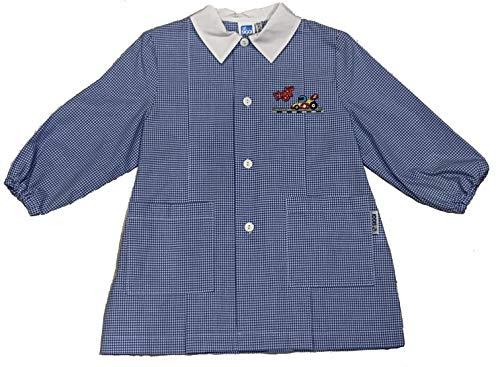 siggi Grembiule bambino scuola infanzia/asilo, quadretto rosso/bianco, con bottoni e ricamo (quadretto azzurro/bianco, 45-2 anni - 92 cm)