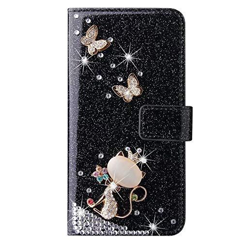 Schutzhülle für Huawei Y6 2019/Honor 8A, 3D-Glitzer-Edelsteine Schmetterling Sparkle Bling Cover Stoßdämpfung Flip PU Leder Schutzhülle TPU Bumper mit Magnetständer Kartenfächer für Mädchen Frauen
