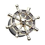 Golden Pirate Ship Anchor Wheel Ear Gauge WildKlass Plug (2 GA (6.5mm))