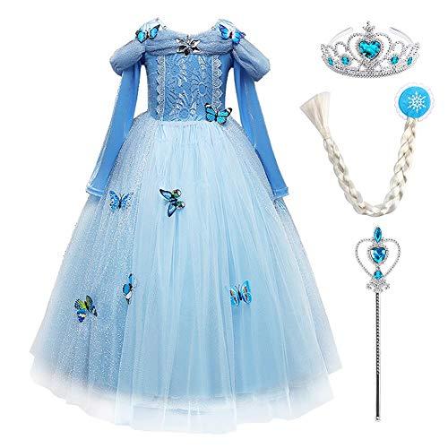 IWEMEK Carnevale ragazza principessa Cenerentola, maxi abito cenere vestito principessa farfalla ragazza Halloween Natale ragazza Cosplay 2-10 anni Set blu (maniche lunghe) 5 anni