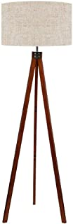 LEPOWER Wood Tripod Floor Lamp, Standing Lamp, Modern Design Studying Light for Living Room, Bedroom, Study Room and Office, Flaxen Lamp Shade with E26 Lamp Base