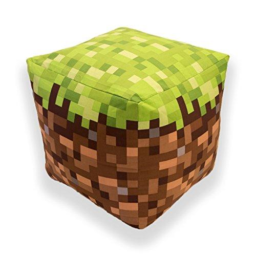 Minecraft Build Cube Shaped Cushion Pillow Bean Bag, Cotton, Green, 40 x 40 x 40 cm