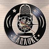 ROMK Reloj de Pared de Vinilo Amantes del Canto, Fiesta de Canto de Karaoke, Reloj de Pared con Disco de Vinilo Vintage, Reloj de