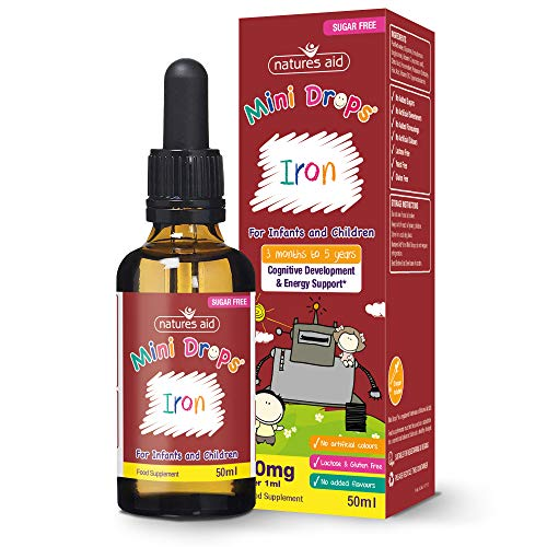 Natures Aid Iron Mini Drops for Infants and Children, Cognitive Development, Sugar Free, 50 ml
