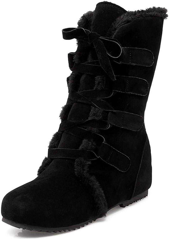 ZHRUI Winter Damen Round-Toe Schnürsenkel Highlanders-Tall Quilt Snow Snow Snow Stiefel (Farbe   Schwarz, Größe   35)  f2cf98