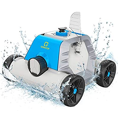 OT QOMOTOP Robotic Pool Cleaner, Rechargeable Cordless Design, 90 Mins Working Time, IPX8 Waterproof, Power Detection Technology, Built-in Water Sensor Technology - Blue