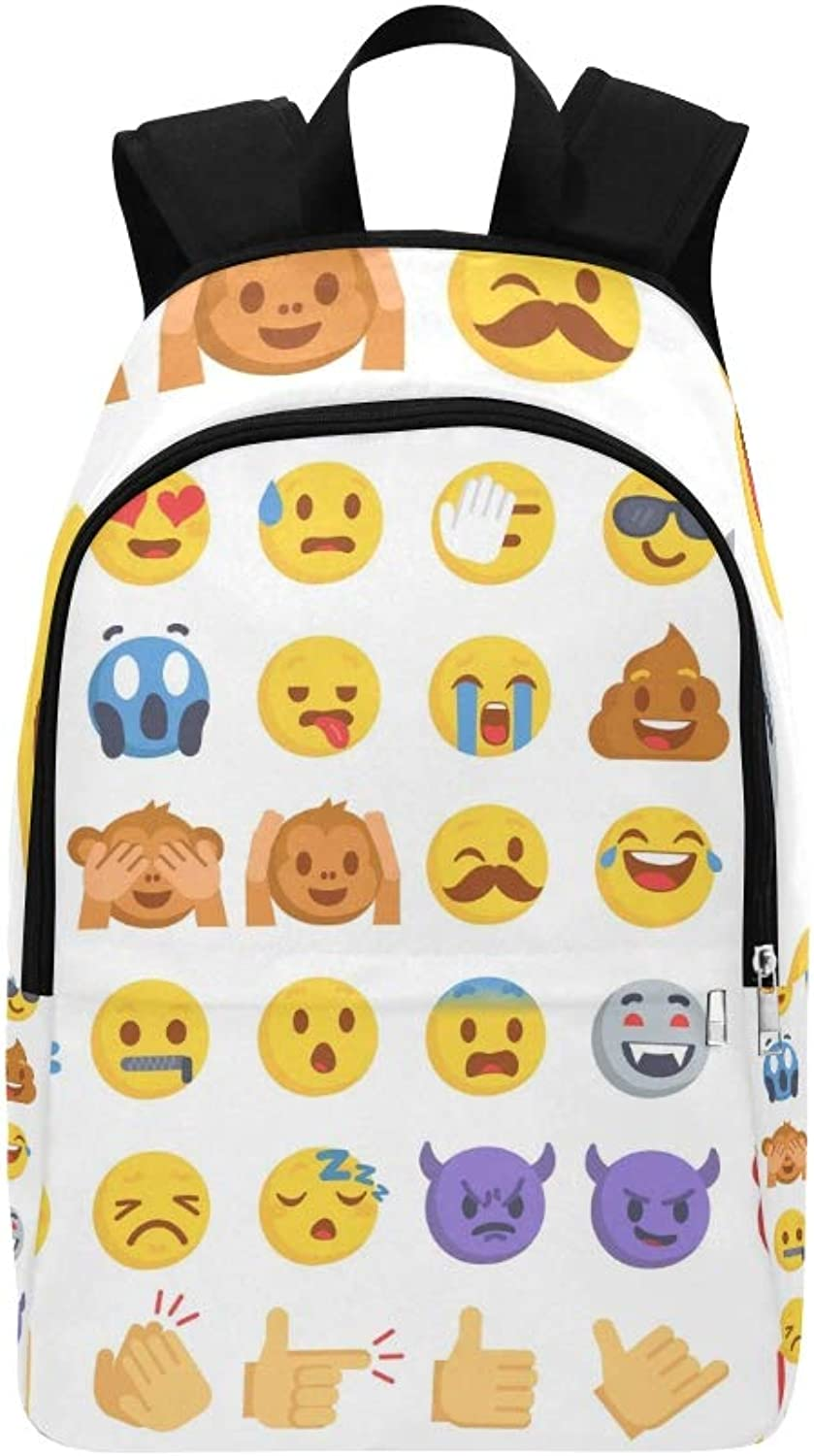 Cartoon Emoji Collection Set Emoticons Different Casual Daypack Travel Bag College School Backpack for Mens and Women