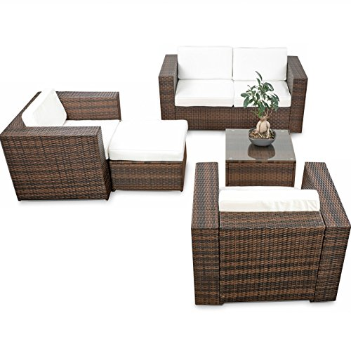 SSITG Meubles de jardin Lounge en polyrotin Meubles Groupe de siège Lounge Tabouret Table Fauteuil canapé