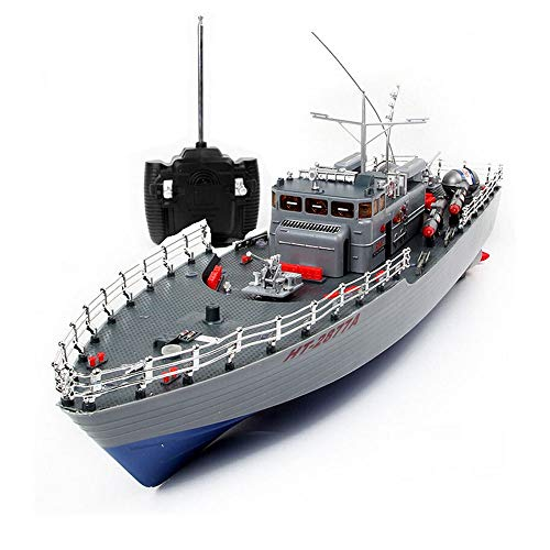 AEDWQ RC Remote Control Boats (HT-2877B) 1/115 Proportion 2.4GHz Pull Fish Net with Waterproof Protection Oversized Upgraded Torpedo Boat Warship Model The Best Gift for Boys