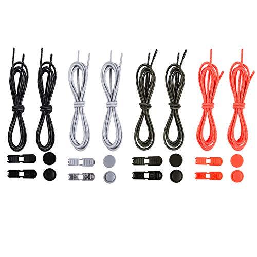 EANLOLY [4 Paia] Lacci elastici,Lacci scarpe elasticizzati,Lacci elastici per scarpe adulti,lacci elastici per scarpe bambini,lunghezza 120 cm Lacci scarpe elastici