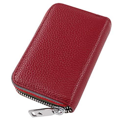 Turshell カードホルダー 本革 クレジット Card Holder Icカードケース スキミング防止 カードケース じゃばら 通帳ケース 大容量 ポイントカードケース メンズ 財布 カード 収納 クレジットカードケース レッド