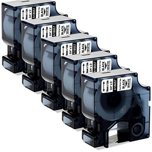 AKen Kompatibles Beschriftungsband Ersatz für Dymo Rhino 18057 a18057 Schrumpfschlauch Etiketten 3/4 Zoll 19mm für Rhino 5200 4200 6000 5000 3M PL200 Industrie Label Maker Schwarz auf Weiß