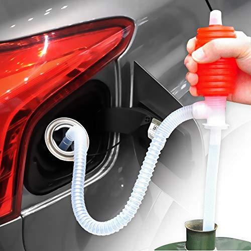 BMCC Pompa a sifone per trasferimento di Liquido/Carburante - Sifone Grande di Compressione per Tosaerba e pompaggio Manuale di Benzina, Acqua, Alcool e Molto Altro