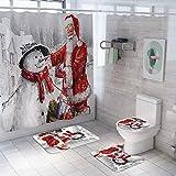 Weihnachten Weihnachtsmann Schneemann Duschvorhang-Set/Teppich Set Badezimmer Anti-Rutsch-WC-Vorleger + Deckel WC-Abdeckung + Badematte + Duschvorhang mit 12 Haken, Duschvorhang 180 x 180 cm (B)