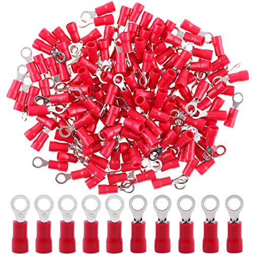 Hilitchi 100pcs 22-16 Gauge Ring Insulated Electrical Wire Terminals Wire Crimp Connectors (M4, Red)