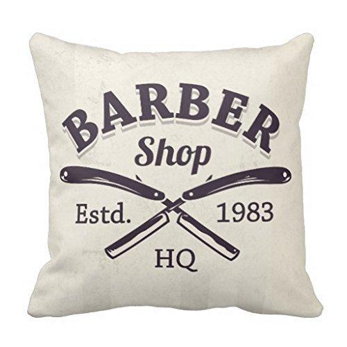 Vintage Barber Shop Rasierer Emblem Überwurf Kissen Fall