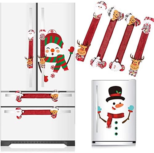 Juego de 6 adornos navideños para nevera, 4 fundas para manijas de puerta de nevera y 2 pegatinas de muñeco de nieve, adorno navideño con muñeco de nieve de Papá Noel para la decoración del hogar de