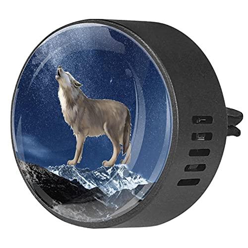 Difusor de coche para clips de ventilación de aceite esencial,Espacio Galaxy Realista Wolf ,2 paquetes de ambientadores de aromaterapia de 40 mm
