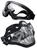 WalkingMan Skull Airsoft Mask and Goggles - Tactical Lower Face Mask Steel Metal Mesh - for BB Gun/CS Game/Paintball - Outdoors Ghost Mask Army for Men&Women (Skull gogles)