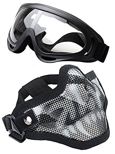 WalkingMan Skull Airsoft Mask and Goggles  Tactical Lower Face Mask Steel Metal Mesh  for BB Gun/CS Game/Paintball  Outdoors Ghost Mask Army for MenampWomen Skull gogles