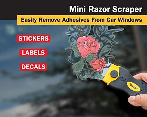 Titan 12031 4-Inch Mini Razor Scraper | Includes 1 Extra Heavy-Duty Razor Blade