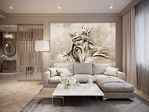 Bilderdepot24 Fototapete selbstklebend Wikinger II, Tattoo Art - sephia 150x100 cm | Moderne Wand-deko Dekoration Wohnung Wohnzimmer Wandtapete | 501179