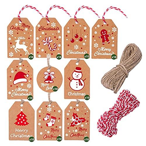 100 etichette regalo natalizie Kraft, etichette natalizie in carta kraft marrone, etichette appese natalizie con filo di cotone e filo di spago per decorazioni natalizie fai da te