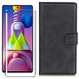 HYMY Hülle für Nokia 3.2 + Schutzfolie - Schwarz Einfach Stil PU Leder Lederhülle Flip mit Brieftasche Geldbörse Card Slot Handyhülle Cover für Nokia 3.2 2019 (6.26
