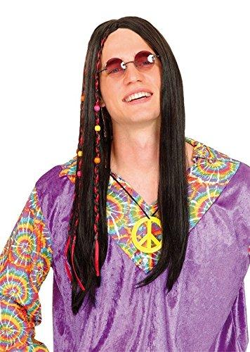 Hippie perruque cheveux longs Noir