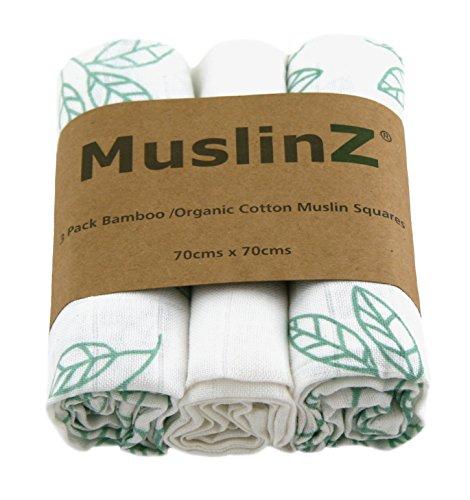 Muslinz Lujo Bambú/Algodón Orgánico Cuadrados de Muselina (70 cm, impresión de Hojas Blancas/Azul Aguamarina, Paquete de 3) MUZBC-3L70B