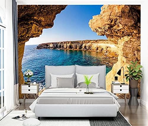 Tapeten,Fototapete,3D Großes Benutzerdefiniertes Wandbild-Moderne Einfache Höhle Natur Sonnenschein Seestück-Foto Tapete Räumliche Erweiterung Persönlichkeit Landschaft Wandmalerei Für Wohnzimme