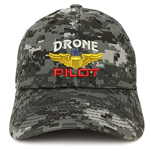 Trendy Apparel Shop Drone Pilot Aviation Wing Embroidered Soft Crown 100% Brushed Cotton Cap - Digital Night CAMO