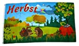 Fahne / Flagge Herbst Igel 90 x 150 cm -