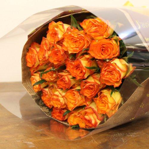 〔エルフルール〕バラの花束 30本 カラー:オレンジ フラワーギフト 生花 誕生日 還暦 退職 結婚 プレゼント 贈り物 母 父 男性 女性 父の日