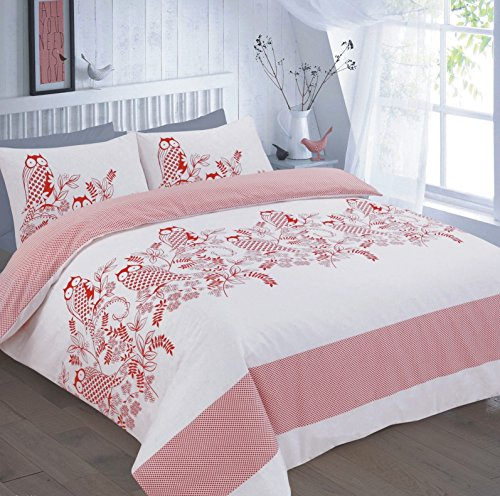 EGYPTO Pollycotton Duvet Owl Print Quilt Comforter Set with Soft, Breathable Pillow Case (Double, Red)