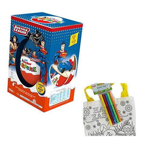 Kinder Surprise - Uovo gigante, 100 g (ideale per Pasqua), edizione limitata, uova e giocattoli della Justice League e colora la tua borsa pasquale.