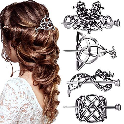 4 Pieces Retro Silver Viking Celtic Hair Clips Vintage Metal Hair Slide Barrettes Hair Clips Hair Sticks Hair Accessories for Women Girls